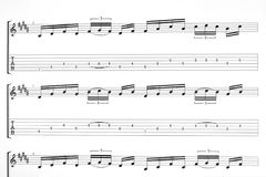 Music for guitar. Music sheet page for guitar - art background Royalty Free Stock Photography