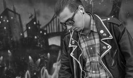 Music, guy, graffiti Royalty Free Stock Photo
