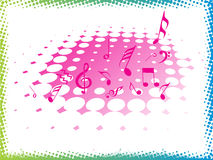 Music halftone on pink background,  Royalty Free Stock Images