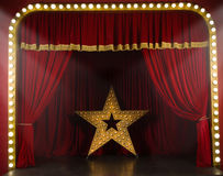 Music hall. Theater stage with red curtains and spotlights. Theatrical scene in the light of searchlights Royalty Free Stock Photos