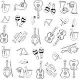Music hand draw doodles set Stock Photos