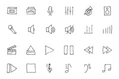 Music Hand Drawn Doodle Icons 1 Stock Photography