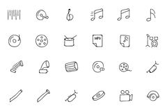 Music Hand Drawn Doodle Icons 2 Stock Photos