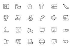 Music Hand Drawn Doodle Icons 4 Stock Photo