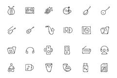 Music Hand Drawn Doodle Icons 3 Stock Image
