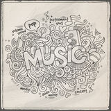Music hand lettering and doodles elements Stock Photo