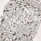 Music hand lettering and doodles elements Royalty Free Stock Photography