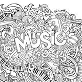 Music hand lettering and doodles elements background. Royalty Free Stock Images