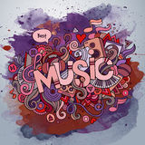 Music hand lettering and doodles elements. And symbols emblem. Vector watercolor stains background Royalty Free Stock Images