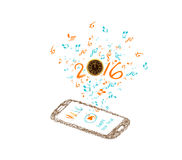 Music for happy new year 2016 background with notes and smartphone Stock Photography