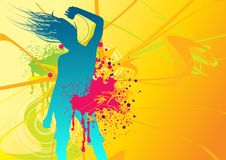 Music Head. Illustration of a female dancing with fresh elements Stock Photos