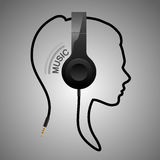 Music head logo. Music woman head logo in vector Stock Image