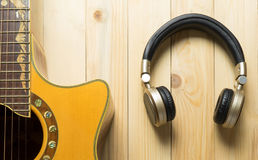 Music Headphone with Guitar Royalty Free Stock Photo