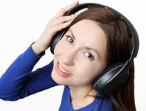 Music in headphones Stock Images
