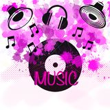 Music headphones background elements pattern, super quality abstract business poster vector illustration