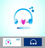Music headphones logo icon love heart Royalty Free Stock Photo
