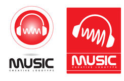 Music headphones logo Royalty Free Stock Photos