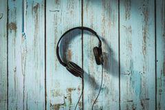 Music Headphones. Modern music headphones. Technology concept royalty free stock images