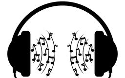 Music in headphones. Music is headphones. The sound have notes. It is a white and black vector. EPS10 Royalty Free Stock Images
