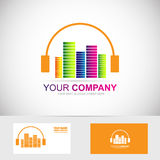 Music headphones volume logo Stock Photo
