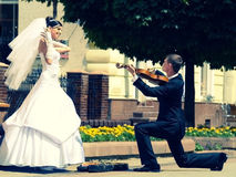 Music from heart. There is groom plays on violin to bride royalty free stock photo