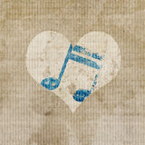 Music in heart. Antique music in heart logo background Stock Photos