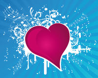 Music Heart. Blue Grunge Music Heart Illustration Royalty Free Stock Image