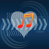 Music in heart and arrow Royalty Free Stock Photo