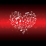 Music in heart background. Illustration of music in heart background Royalty Free Stock Photos