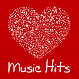 Music heart with notes and musical symbols Royalty Free Stock Photo