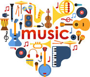 Music Heart set vector Royalty Free Stock Image
