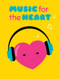 Music for the heart sticker. Vector cartoon illustration of a heart character with headphones. Text `Music for the heart`. Vivid pink, yellow and blue colors Royalty Free Stock Photo