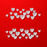Music in Hearts Red Background Royalty Free Stock Photos