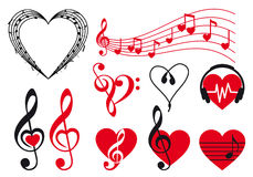 Music hearts, vector Royalty Free Stock Image