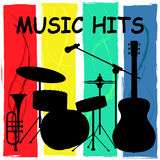 Music Hits Indicates Sound Track And Charts. Music Hits Showing Sound Track And Rating Stock Images