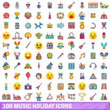 100 music holiday icons set, cartoon style Stock Image