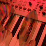 Music home studio (red). Synthesizer & CD. Camera: Nikon D50, silver reflector (30 inches) &...color stock photography