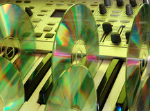 Music home studio (yellow). Synthesizer & CD. Camera: Nikon D50, silver reflector (30 inches) &...color royalty free stock photos