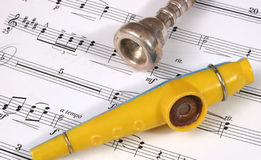 Music and Horns. Horn and music Stock Photos