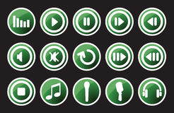 Music icon. Glossy music and sound icons - vector icon set Royalty Free Stock Photography