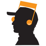 Music icon. Black illustration black face music icon Stock Photography