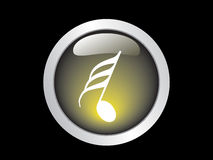 Music icon. Black background with music icon Royalty Free Stock Photography