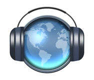 Music icon. Earth with headphone Stock Photography