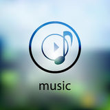 Music icon. on blurred background Royalty Free Stock Image