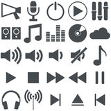 Music icon collection. Collection for music use with 16 different icons Stock Photo
