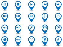 Music icon design. Set of 20 music icons in blue button with shadow Royalty Free Illustration