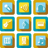 Music icon design set. Music and related icons design set Royalty Free Stock Photography