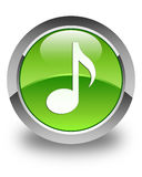 Music icon glossy green round button Royalty Free Stock Photos