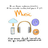 Music Icon Hand Draw Color Logo Set Collection Stock Image
