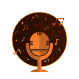 Music icon. With microphone and notes royalty free illustration